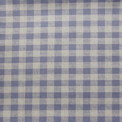 ผ้าคอตตอนลินิน ลายสก๊อต สีฟ้าคราม ขนาด 1/4 หลา (45 * 55 ซม.)