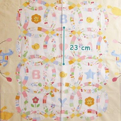 ผ้าคอตตอนญี่ปุ่น ลาย Baby สีเหลือง ขนาด 90 x 110 ซม.