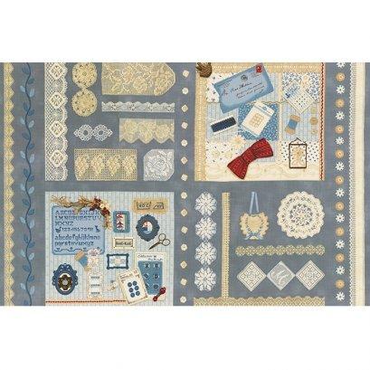 ผ้าบล็อค Lecien by Masako สีฟ้า ขนาด 75 x 110 ซม.