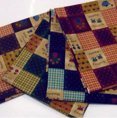 เซตผ้าคอตตอนญี่ปุ่น ลายสี่เหลี่ยมเล็ก 4 ชิ้น (26 x 45 ซม.)