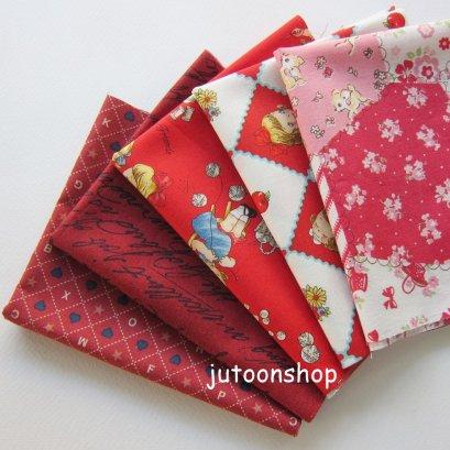 ผ้าคอตต้อนญี่ปุ่นจัดเซต 5 ชิ้น ขนาด 22 x 27 ซม. (1/16 ม.)