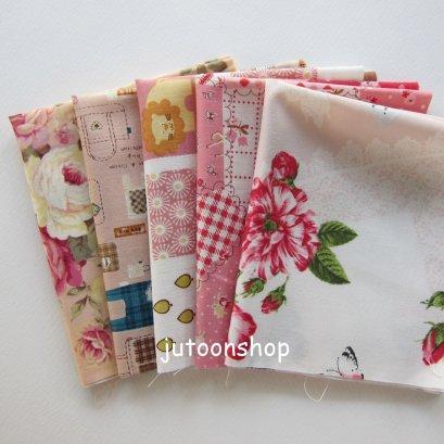 ผ้าคอตตอนญี่ปุ่นจัดเซต 5 ชิ้น ขนาด 22 x 26 ซม.