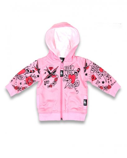 Six Bunnies TRUE LOVE FOREVER pink Baby Kapuzenpullover / Hoodies.