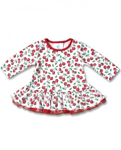 Six Bunnies CUTE CHERRIES long sleeve Baby Dress