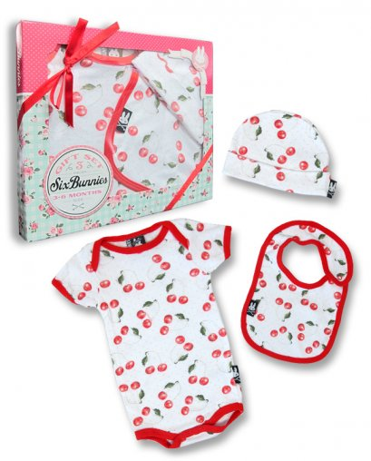 Six Bunnies CHERRIES 3 pcs set Baby Giftset