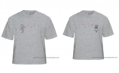 Love bubble couple T-shirt gray