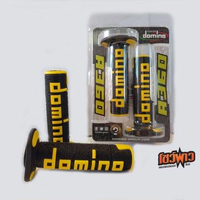 Domino ปลอกแฮนด์ A360 Tourismo - สีดำ/เหลือง ของเเท้จากอิตาลี (แบบปลายปิด)