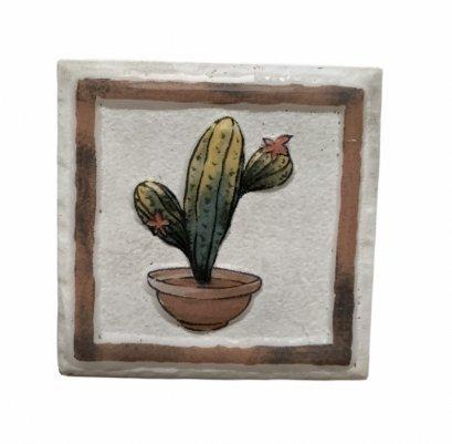 กระเบื้องตกแต่งผนัง ขนาด 100x100x10 mm ลายต้นตระบองเพชร ทรงสูง (Cactus) 5 แผ่น/ชุด