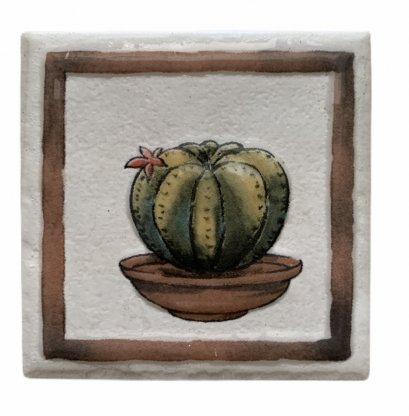 กระเบื้องตกแต่งผนัง ขนาด 100x100x10 mm ลายต้นตระบองเพชร ทรงกลม (Cactus) 5 แผ่น/ชุด