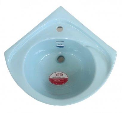 C004 อ่างล้างหน้าแขวนผนัง แบบเข้ามุม สีฟ้า - COTTO