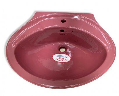"""C012 อ่างล่างหน้าแบบแขวนผนัง รุ่น เคนชิงตัน 22"""" สีแดงอมรา (ชมพูเข้ม) - COTTO"""