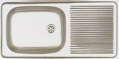 DMX-100 อ่างล้างจานสเตนเลส 1 หลุม มีที่พักจาน ตราเพชร