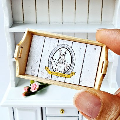 Dollhouse Miniatures Kitchenware Wood Tray Rabbit Bunny Easter Decoration
