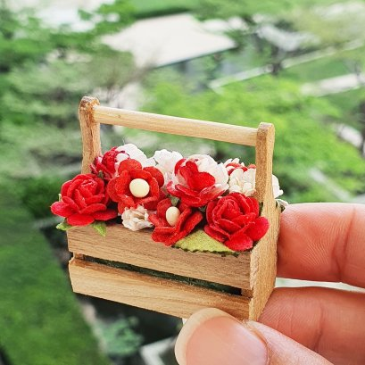 Dollhouse Miniatures Colorful Flower in Wood Basket
