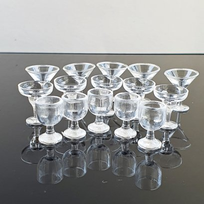 Dollhouse Miniatures Wine Champaign Cups Beverage Drink Supply Mixed Lot x15