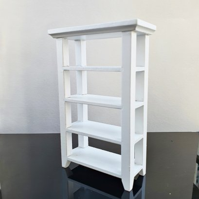 Dollhouse Miniatures White Furniture Wood Display Cabinet Cupboard Showcase
