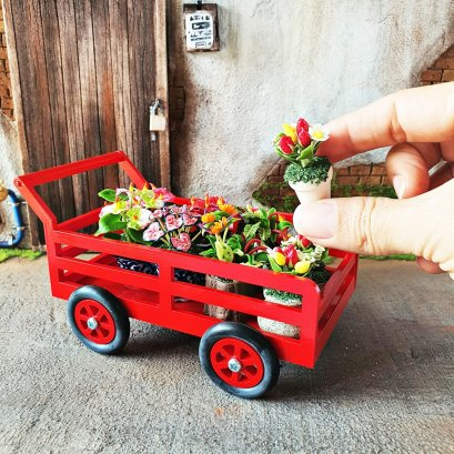 Dollhouse Miniatures Flower Plant in Red Cart Decoration