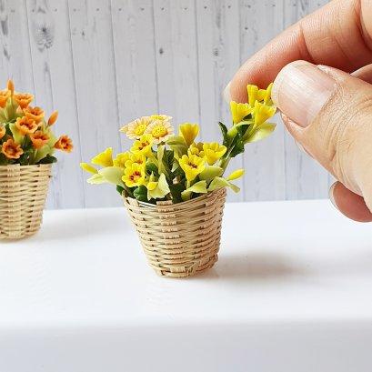 Dollhouse Miniatures Yellow Flower in Basket