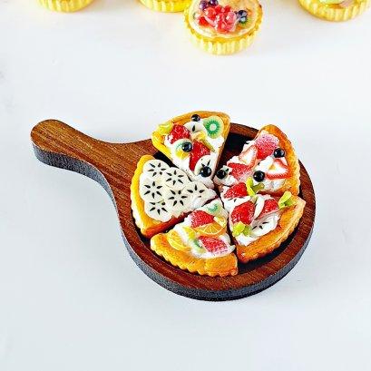 Dollhouse Miniatures Food Bakery Fruit Pie on Wood Tray Set