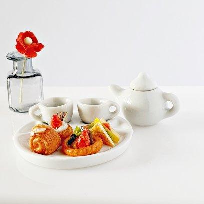 Dollhouse Miniatures Food Bakery Cake Tart Pie Tea Cup Set