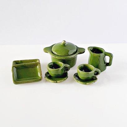 Dollhouse Miniatures Ceramic Tableware Green Dish Set