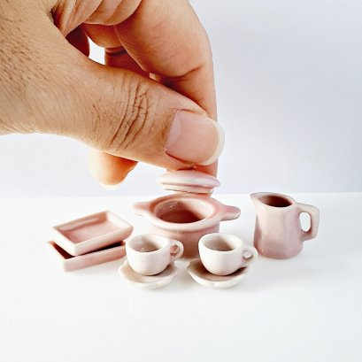 Dollhouse Miniatures Ceramic Tableware Dish Plate Set