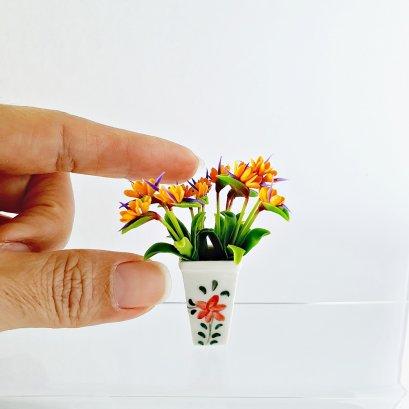 Dollhouse Miniatures Orange Flowers Ceramic Vase Room Garden Barbie Supply