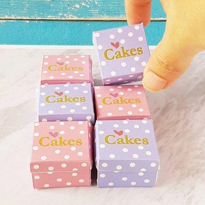 Dollhouse Miniatures Cake Boxes 3 cm. Set 6 Pieces