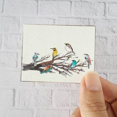 Water Color Bird Picture on Wood
