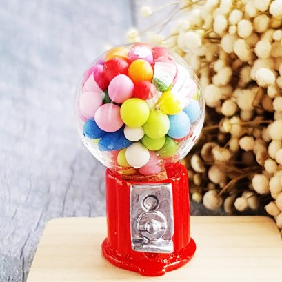 Mini Dollhouse Miniatures Candy Bubble Gum Ball Machine Toy Doll Barbie Supply