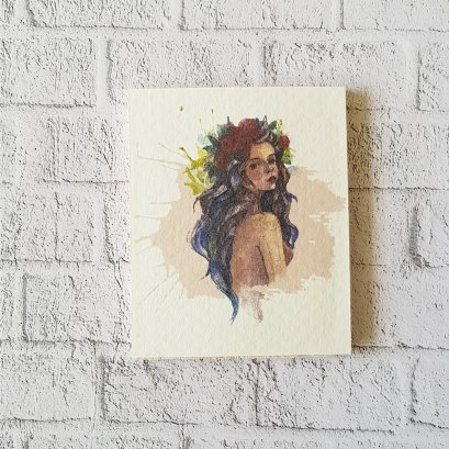 Dollhouse Miniatures Wall Decoration Water Color Woman Picture on Wood