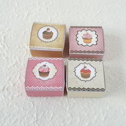 Dollhouse Miniatures Cake Boxes Size 4 cm. Set 4 Pieces