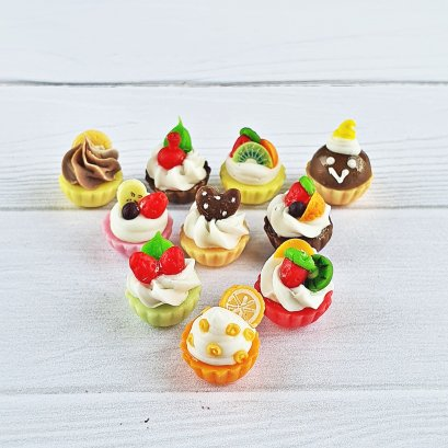 10x Dollhouse Miniature Mixed Fruit Cupcake Bakery Pastries Sweet Dessert Barbie Blythe Supply 1:12 Scale Decoration