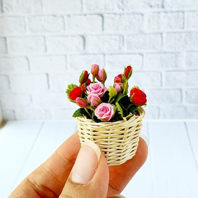 Dollhouse Miniatures Clay Colorful Rose Flower in Wicker Basket