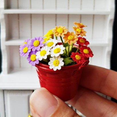9x Mix Terracotta Pots Dollhouse Miniatures Fairy Garden Handmade Wholesale Lot