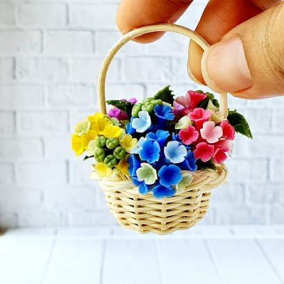 Dollhouse Miniatures Clay Hydrangea Colorful Flower in Wicker Basket