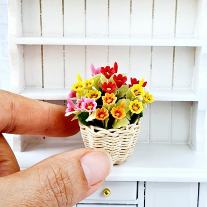 Dollhouse Miniatures Clay Flower Colorful Gazania in Wicker Basket