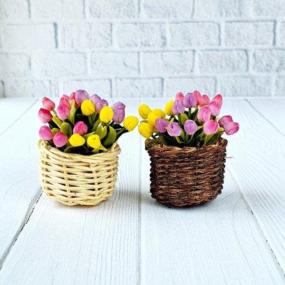 Dollhouse Miniatures Colorful Tulip Clay Flower in Wicker Basket Fairy Garden Plants Decoration