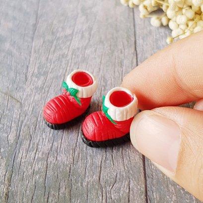 Dollhouse Miniatures Christmas Doll Santa Booth Toy Handmade from clay