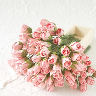 50 Pcs Salmon Rose Mulberry Paper Flower for Scrapbook Craft  Wedding Card