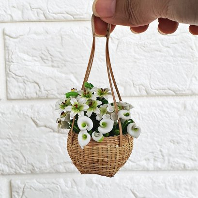 Dollhouse Miniatures Clay Colorful Flower in Bamboo Basket