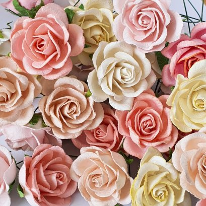 5x Rose Mulberry Paper Flower Crafts Handmade Wedding Card Scrapbooking Miniature Handcrafted(copy)