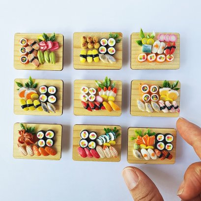 Dollhouse Miniature Food Japanese Sushi Sashimi Bento Set 9 Pcs Mini Tiny Supply
