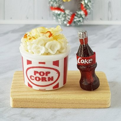 Set of Bucket Popcorn and Coke Bottle Dollhouse Miniatures Fast Food