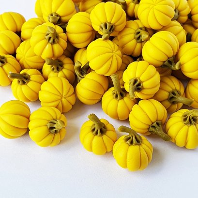 Dollhouse Miniatures Food Groceries Loose Yellow Pumpkin Halloween Decor Lot 10 Pcs.