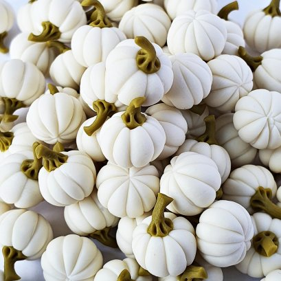 Dollhouse Miniatures Food Groceries Loose White Pumpkin Halloween Decor Lot 10 Pcs.