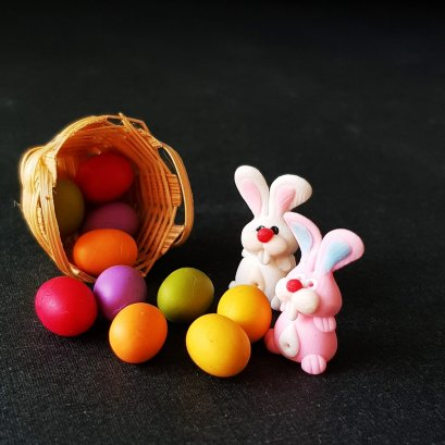10 Easter Eggs Fill Round Basket Rabbit Bunny Dollhouse Miniatures Food Thanking
