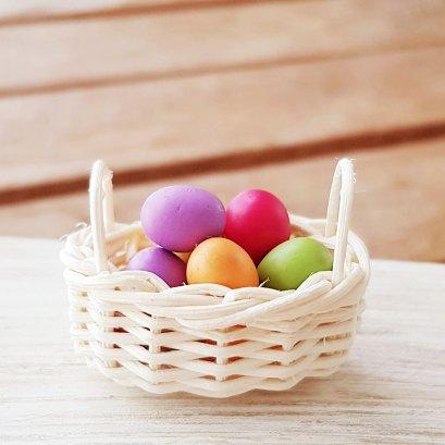 10x Eggs in Rattan Basket , Fairy garden Easter eggs, dollhouse Easter eggs, miniature egg hunt, Fairy Easter, dollhouse Easter, barbie Easter, miniature eggs