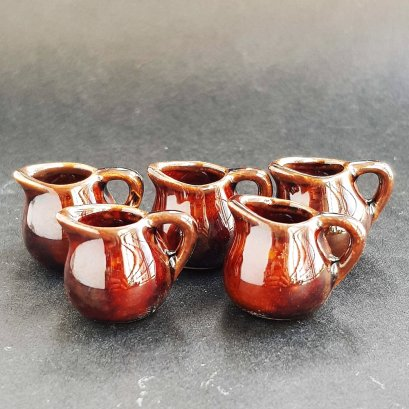 Ceramic Mini Dark Brown Pitcher Jug Dollhouse Miniatures Food Tableware Supply