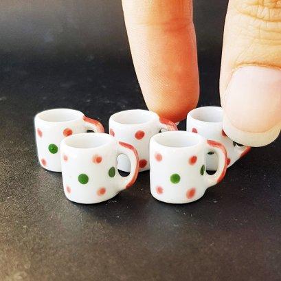 Dollhouse Miniatures Ceramic Coffee Tea Cups Mug Hand Painted